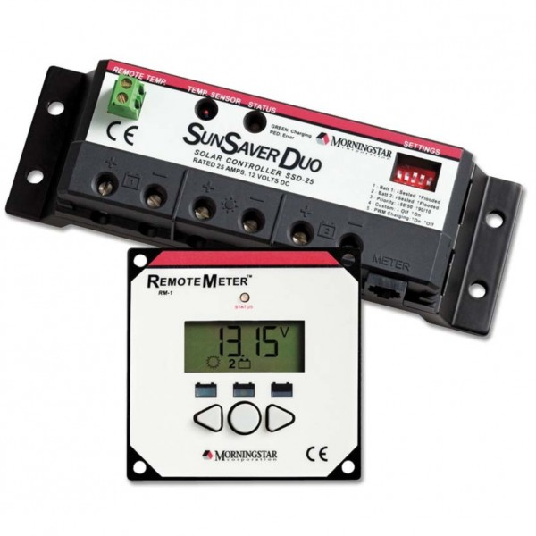 SunSaver Duo 25A Morningstar Corporation PWM Charge Controller + display remote